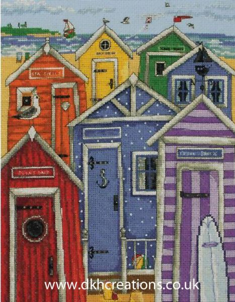 Rainbow Beach Huts Cross Stitch Kit
